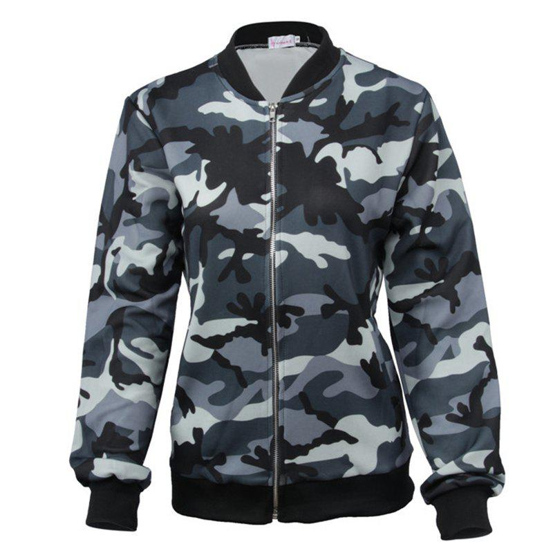 Trendy Camouflage Zipper Baseball Jacket