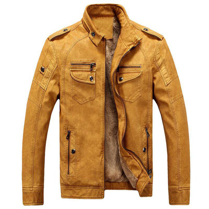 45132280376f Cheap Men s Casual Winter Fleece Leather Jacket Solid Stand Long Sleeve PU  Coat