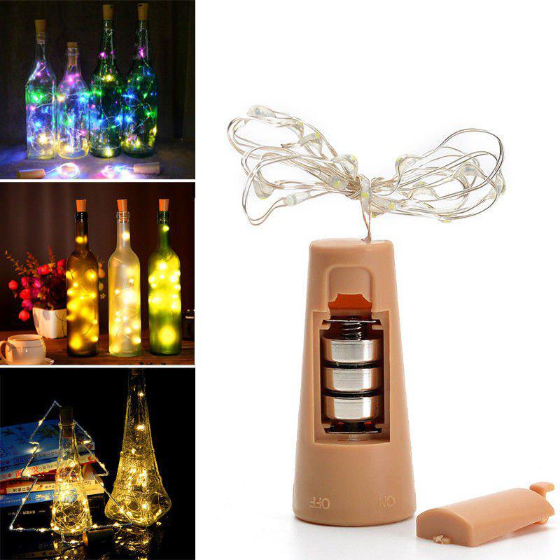 43 Off 20 Led Strip Wine Bottle Lamp Fairy Lights Cork String Wire 2m Party Wedding Rosegal