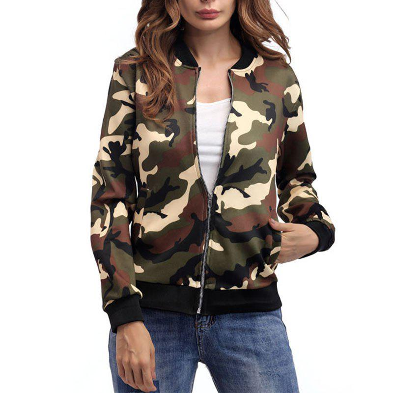 Affordable Camouflage Zipper Baseball Jacket
