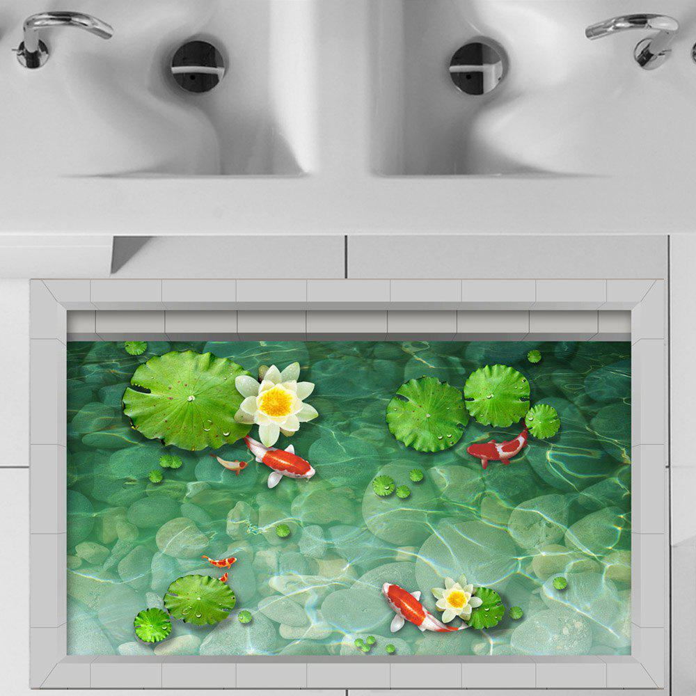 3D-наклейки для пола Creative Decoration Lotus Goldfish