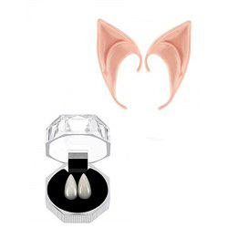 Vampire Teeth and Latex Elf Ears Fairy Goblin for Halloween Costume Accessory -