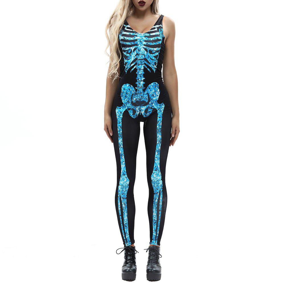 Affordable Women's Zipper Printed Halloween Fashion Vest Style Jumpsuit