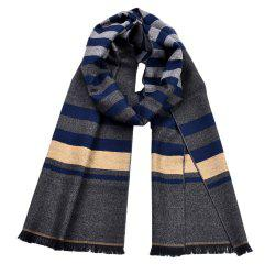 Men Double-Sides Plaid Warm Tassel Scarf Shawl -