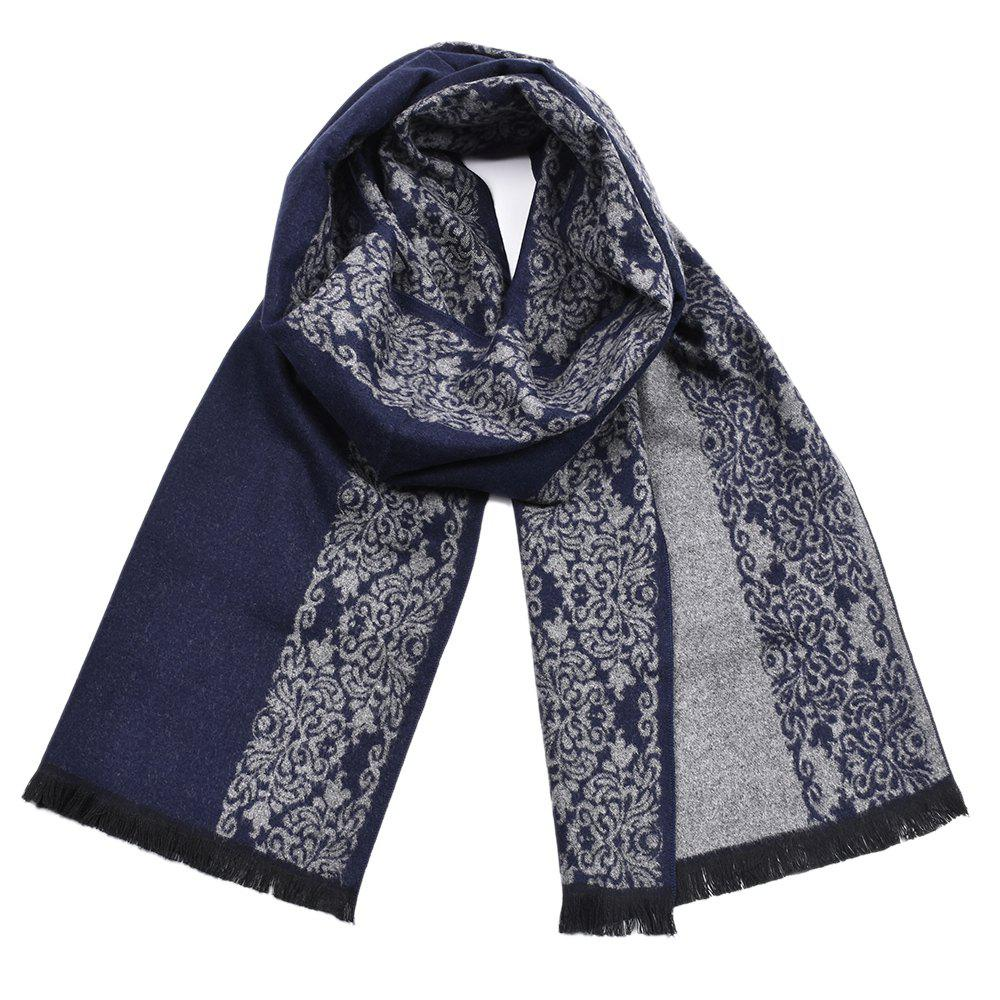 Trendy Men Chinese Porcelain Winter Warm Soft Shawl Scarf