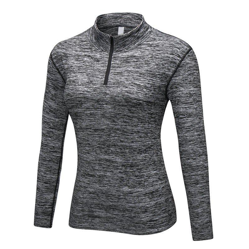 Online Women PRO Fitness Running Elastic Tight Stand Sweater