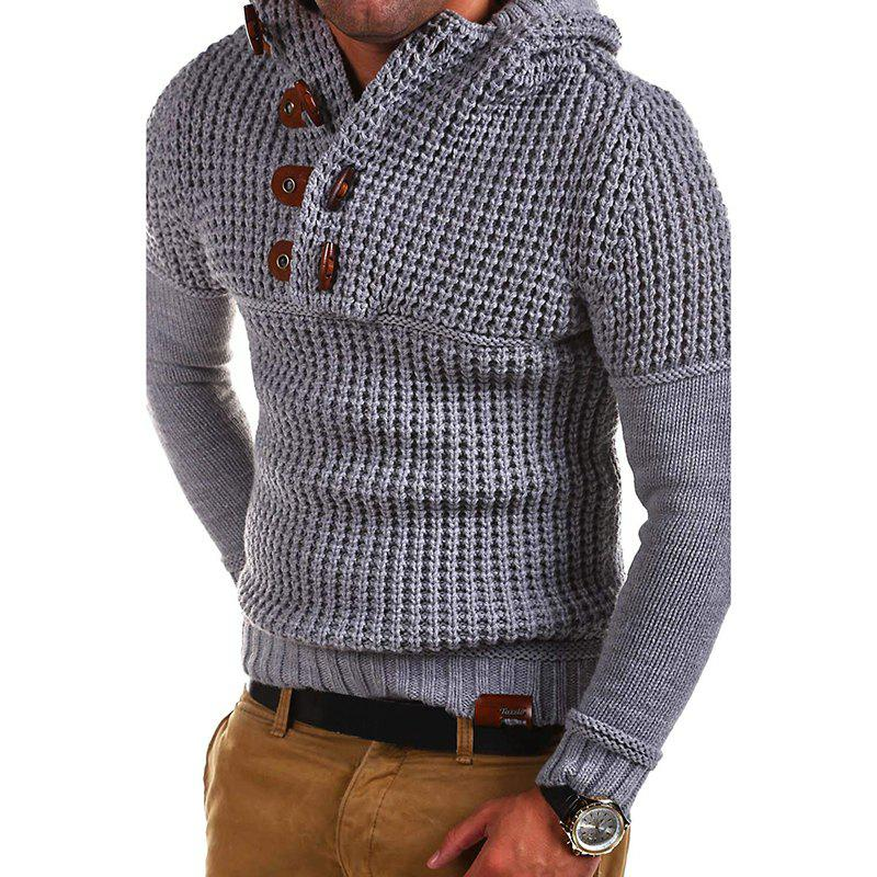Shop Men's High Quality Design Fashion Hooded Solid Color Sweater