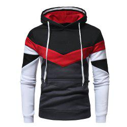 Men's Fashion Contrast Color Stitching Casual Long-Sleeved Hooded Padded Sweater -