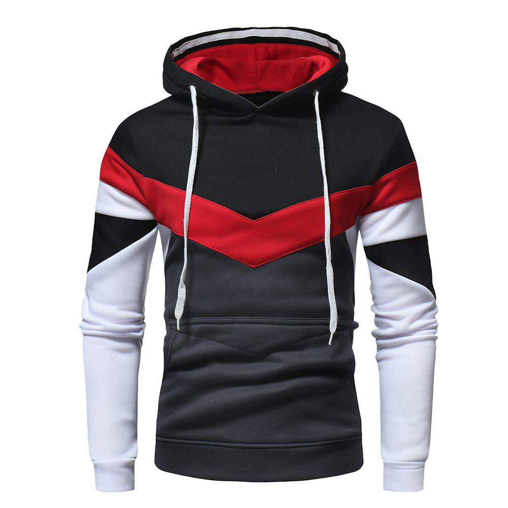 Cheap Men's Fashion Contrast Color Stitching Casual Long-Sleeved Hooded Padded Sweater