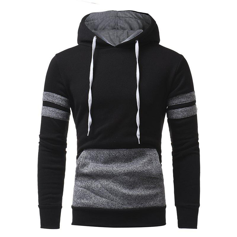 Store Personalized Patch Design Men's Casual Slim Hooded Pullover Sweater