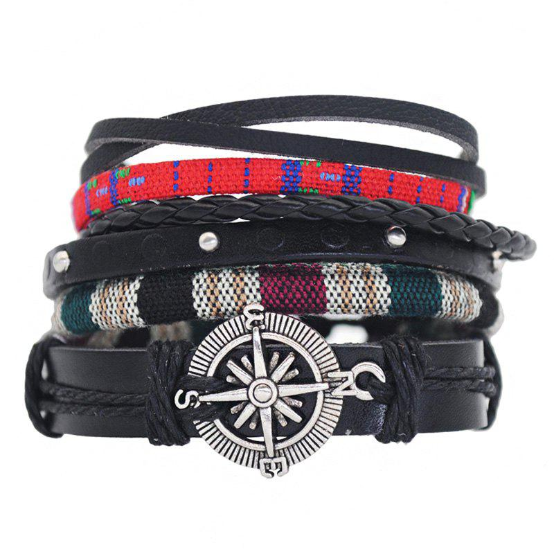 New 4 in 1 Set of Leather Chain Bracelet