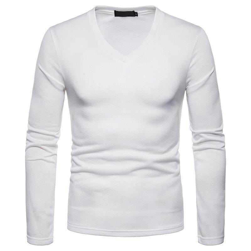 ab605d7d15ca 2019 Men s Plus Warm Long-sleeved V-neck T-shirt