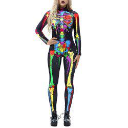 Women's Long Sleeve Print Zip Halloween Fashion Jumpsuit -