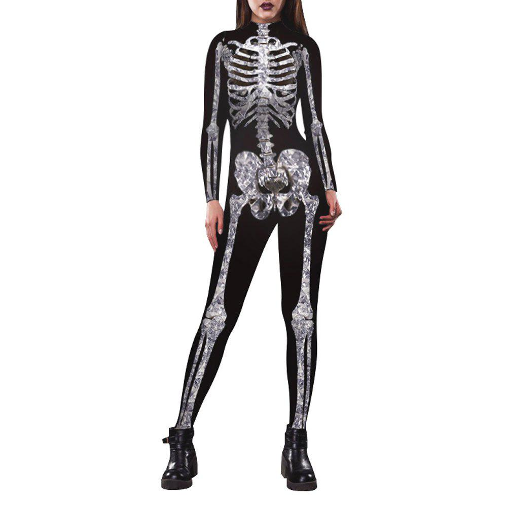 Affordable Women's Long Sleeve Print Zip Halloween Fashion Jumpsuit