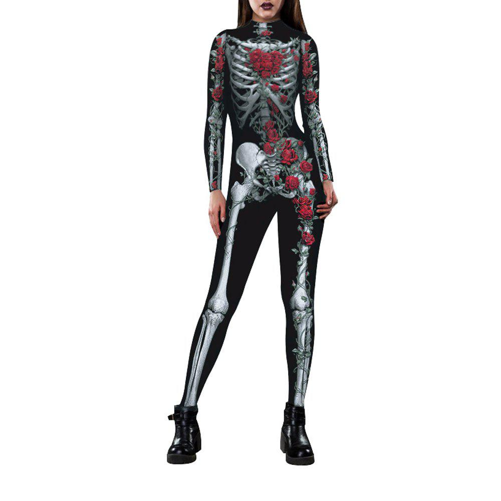 Trendy Women's Long Sleeve Print Zip Halloween Fashion Jumpsuit