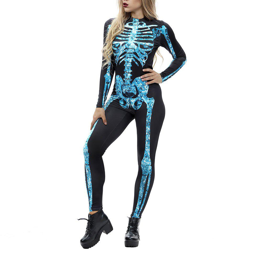 Buy Women's Long Sleeve Print Zip Halloween Fashion Jumpsuit