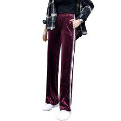 Women's Thin Section Wide Leg Gold Long Loose Sports Straight Pants -