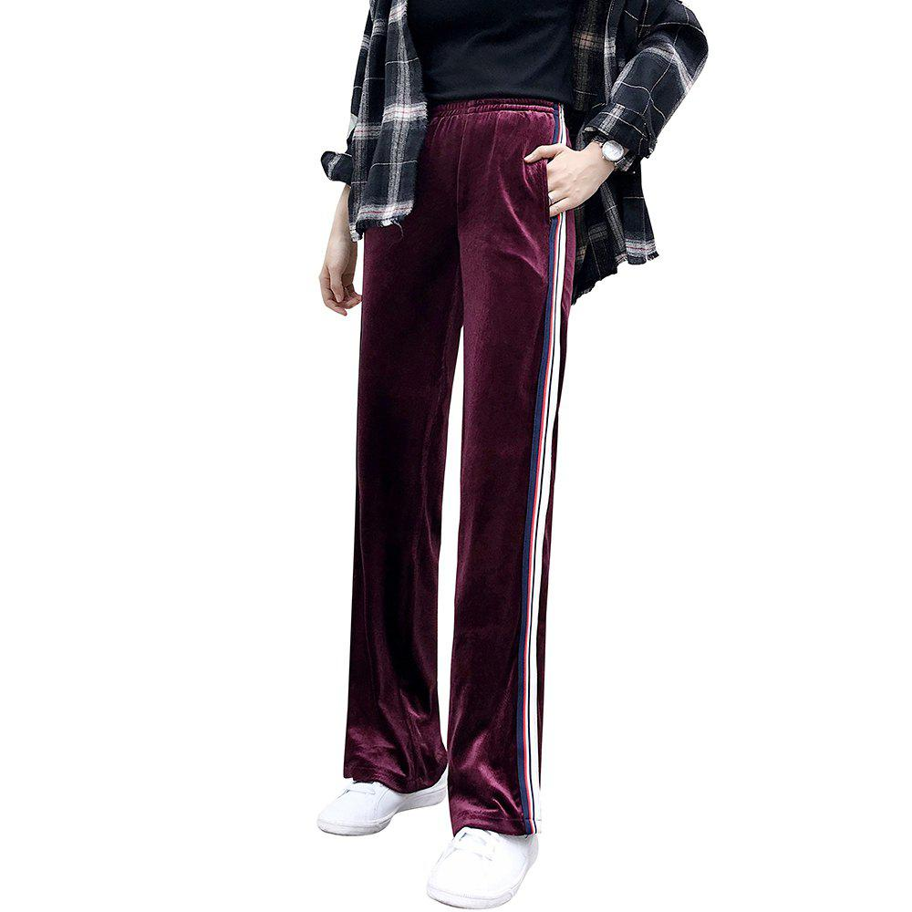 New Women's Thin Section Wide Leg Gold Long Loose Sports Straight Pants