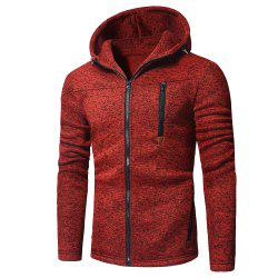 Men's Fashion Design Multi-Zipper Solid Color Long-Sleeved Hoodie -