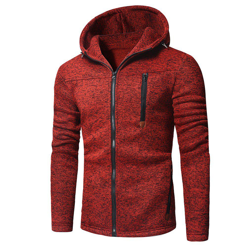 Affordable Men's Fashion Design Multi-Zipper Solid Color Long-Sleeved Hoodie