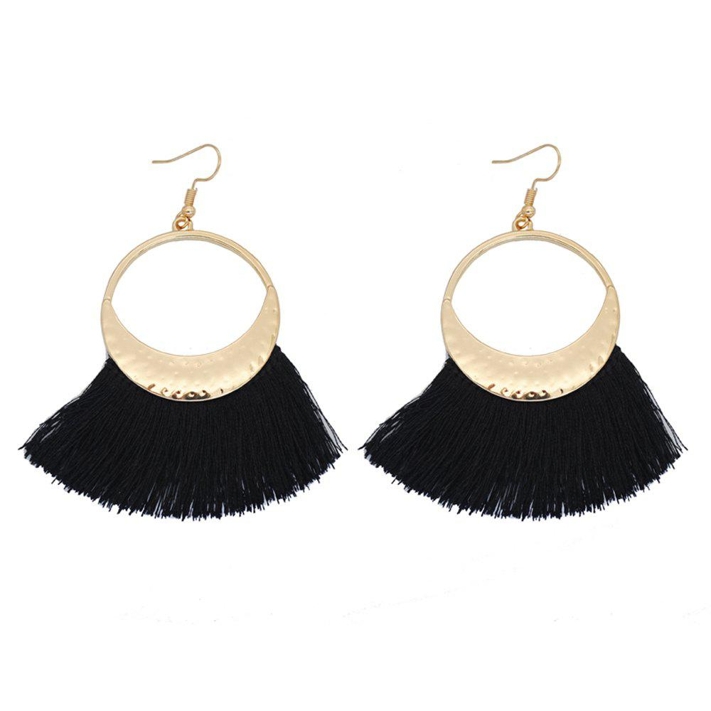 Unique Fringed Knitted Fan-Shaped Gold Earrings