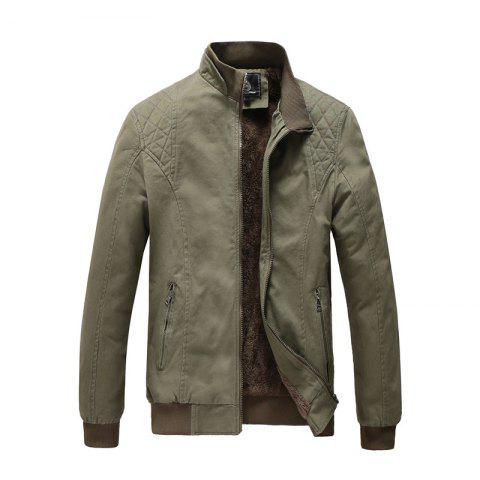 Men Plus Size Casual Jacket Fashion All Match Military Style Stand Collar