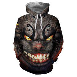 Men's Fashion New Horror 3D Digital Printing Large Pocket Hoodie Sweater -