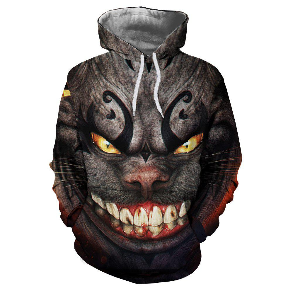 Best Men's Fashion New Horror 3D Digital Printing Large Pocket Hoodie Sweater