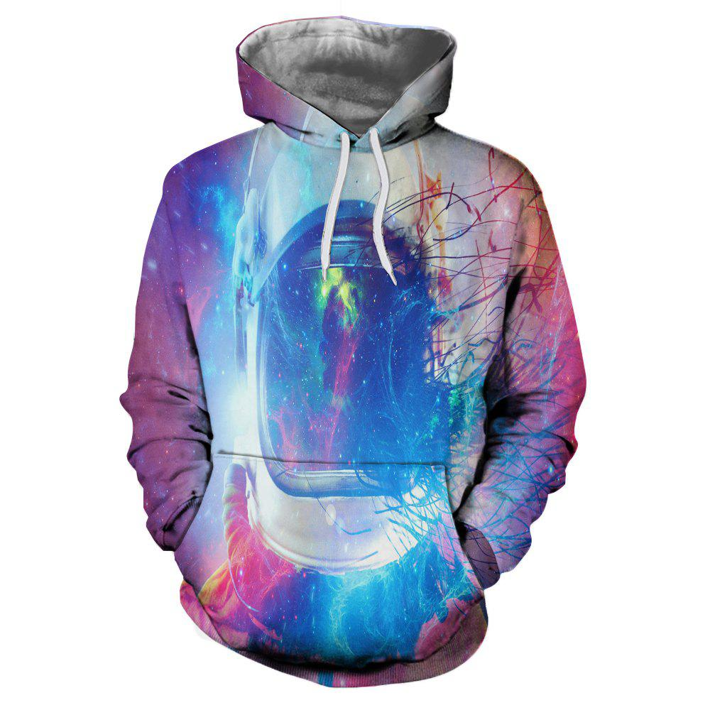 Outfit Men's Casual Sports 3D Color Silk Print Patch Pocket Hooded Sweater