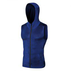 Men's Sports Running Training Zipper Hooded Quick-drying Vest -
