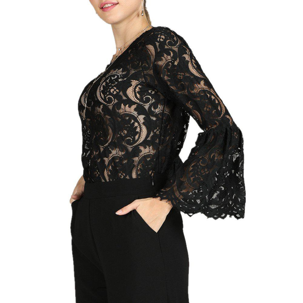 a0fe38e8fe4c6 Fashion SBETRO Sheer Flare Sleeve Flower Sexy Lace Blouse Shirt for Dating