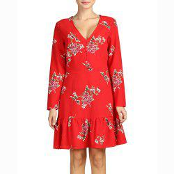 SBETRO Deep V Neck Long Sleeve Print Pleated Dress Fishtail Red Firenze Dress -