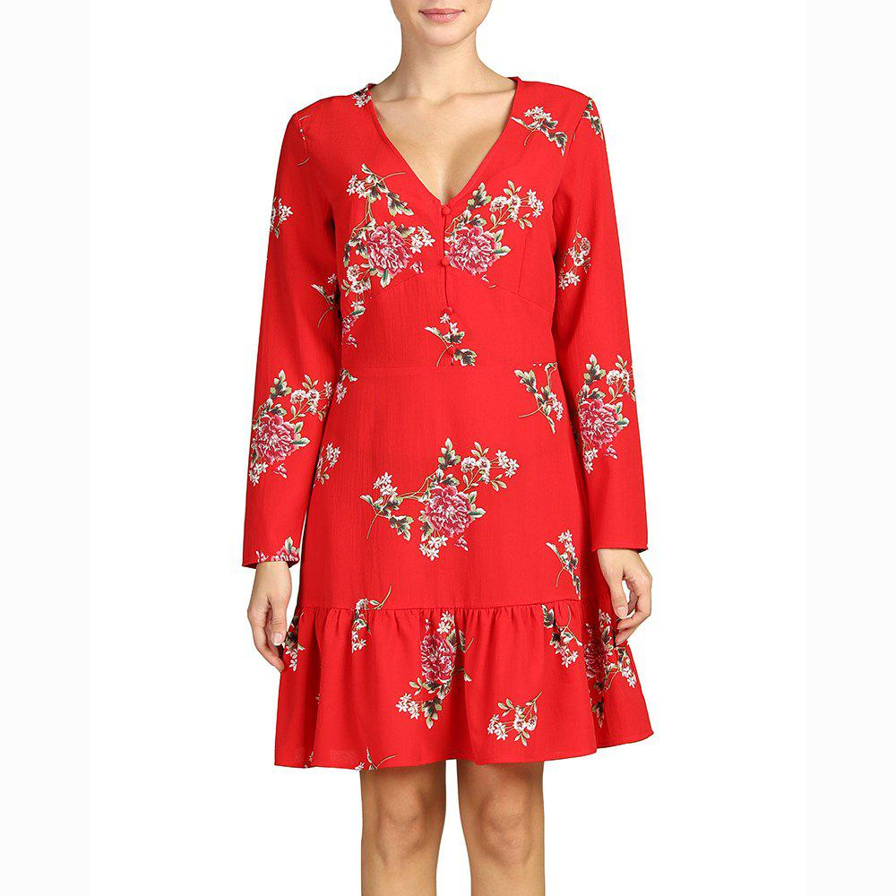 Hot SBETRO Deep V Neck Long Sleeve Print Pleated Dress Fishtail Red Firenze Dress