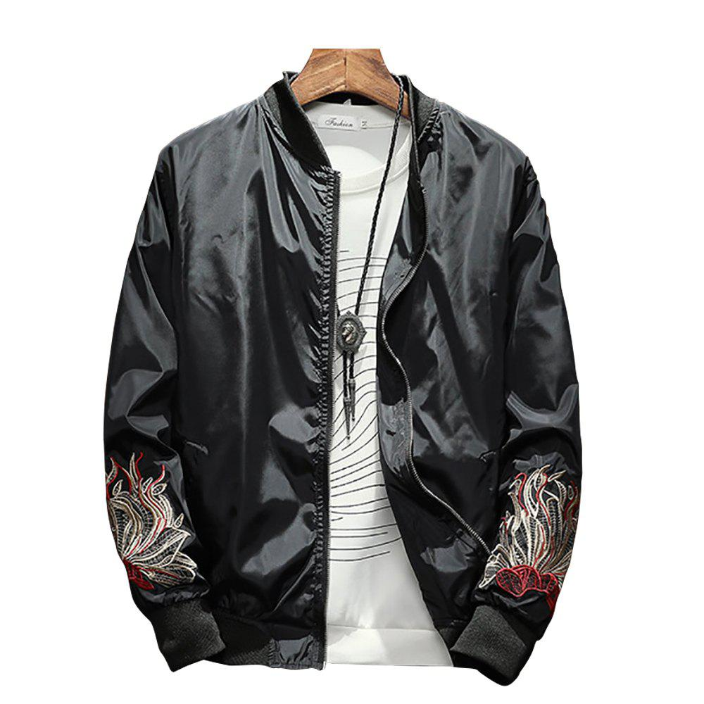 Online Men's Solid Color Stand Collar Print Jacket
