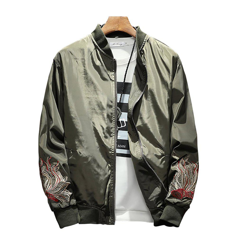 Discount Men's Solid Color Stand Collar Print Jacket