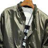 Men's Solid Color Stand Collar Print Jacket -