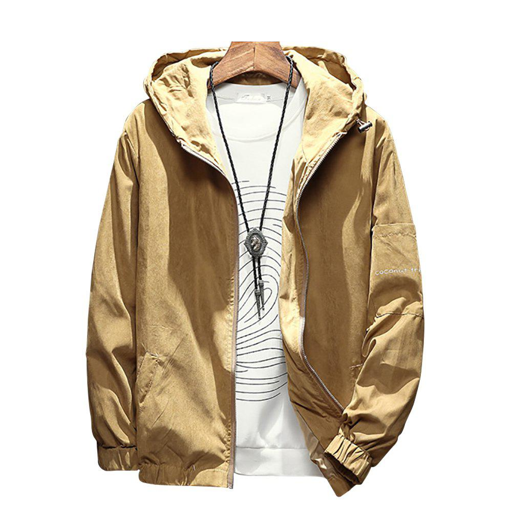 Hot Men's Hooded Solid Color Jacket