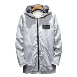 Men's Long Hooded Solid Color Jacket -