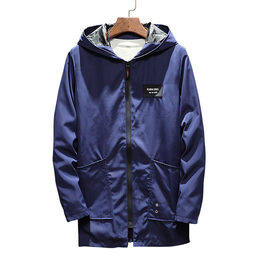 New Men's Long Hooded Solid Color Jacket