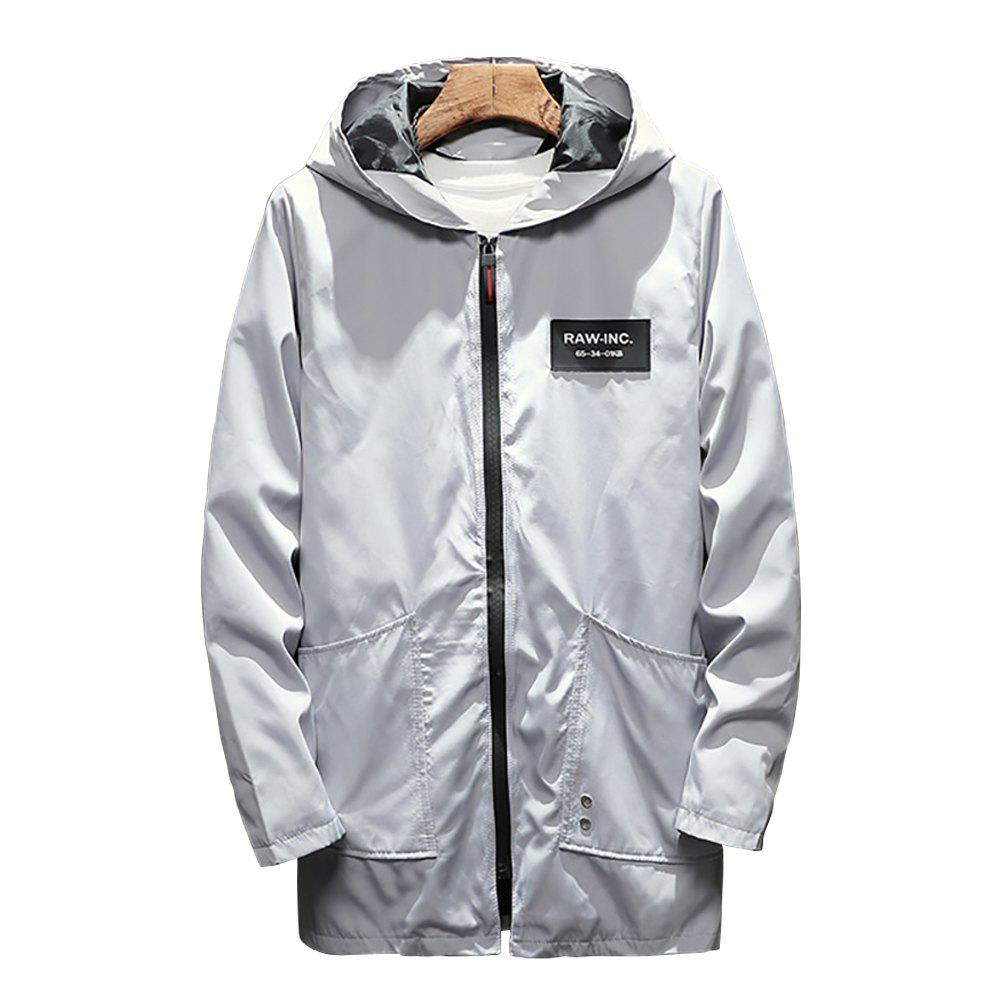 Online Men's Long Hooded Solid Color Jacket