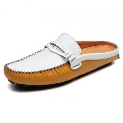 Leather Slippers Fashion Shoes Men's Slip On -