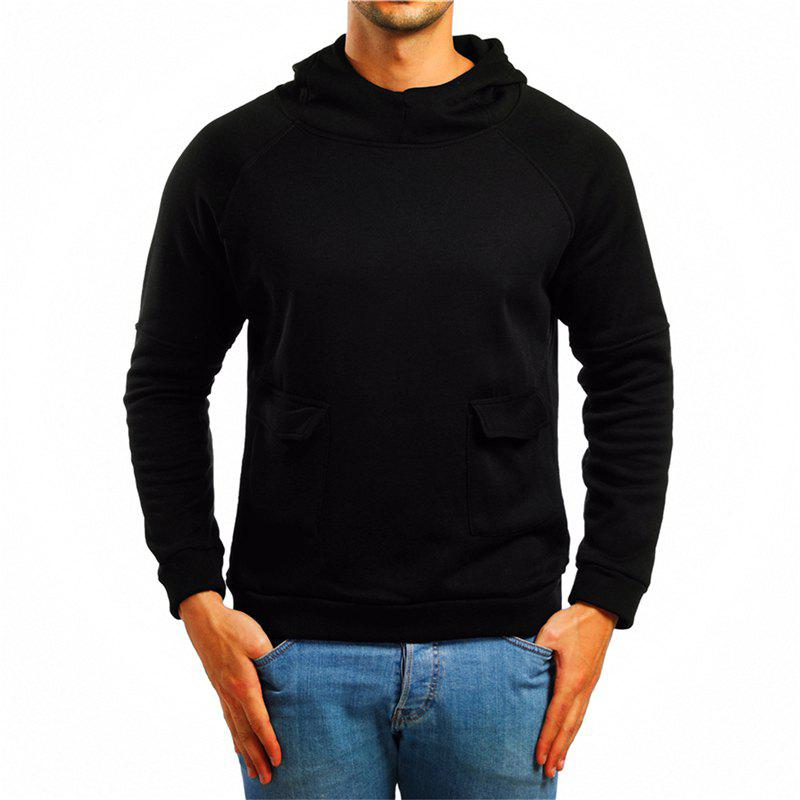 Unique Men's Double Pocket Hooded Pullover Sweater