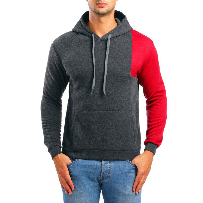 New Fashion Simple Color Matching Men Hoodies Sweater