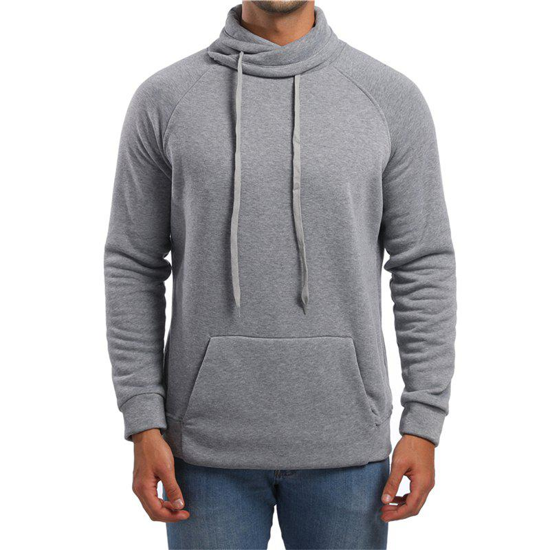 Latest Men's High Collar Solid Color Sports Hoodies Sweater