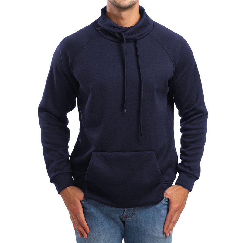 Shops Men's High Collar Solid Color Sports Hoodies Sweater