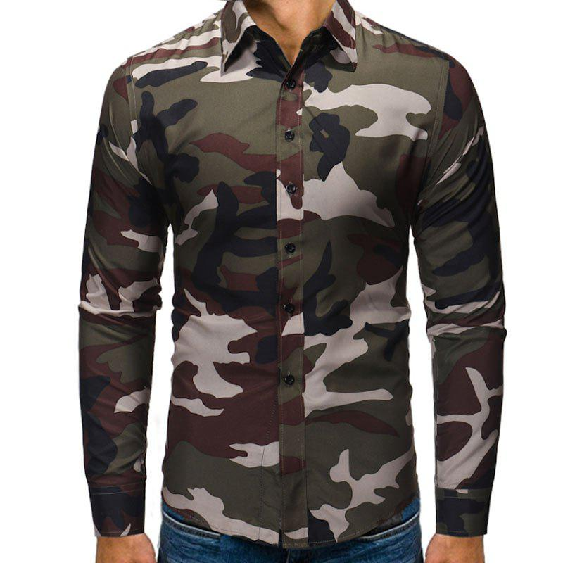 Best Men's Fashion Camouflage Long Sleeved Casual Shirts