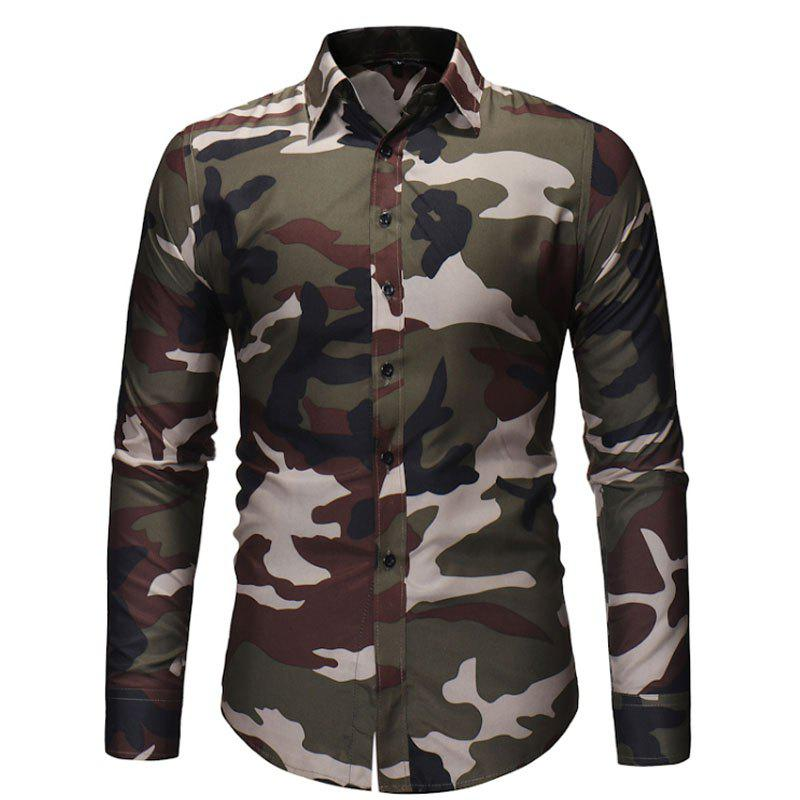 Chic Men's Fashion Camouflage Long Sleeved Shirt