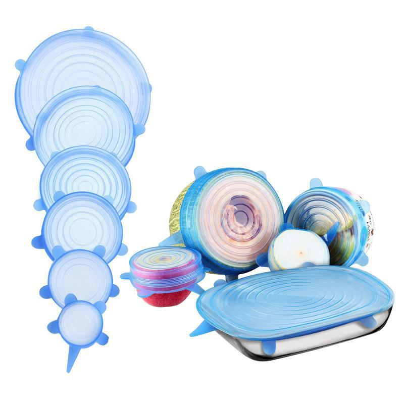 Trendy 6PCS Food Wraps Reusable Silicone Fresh Keeping Sealed Covers