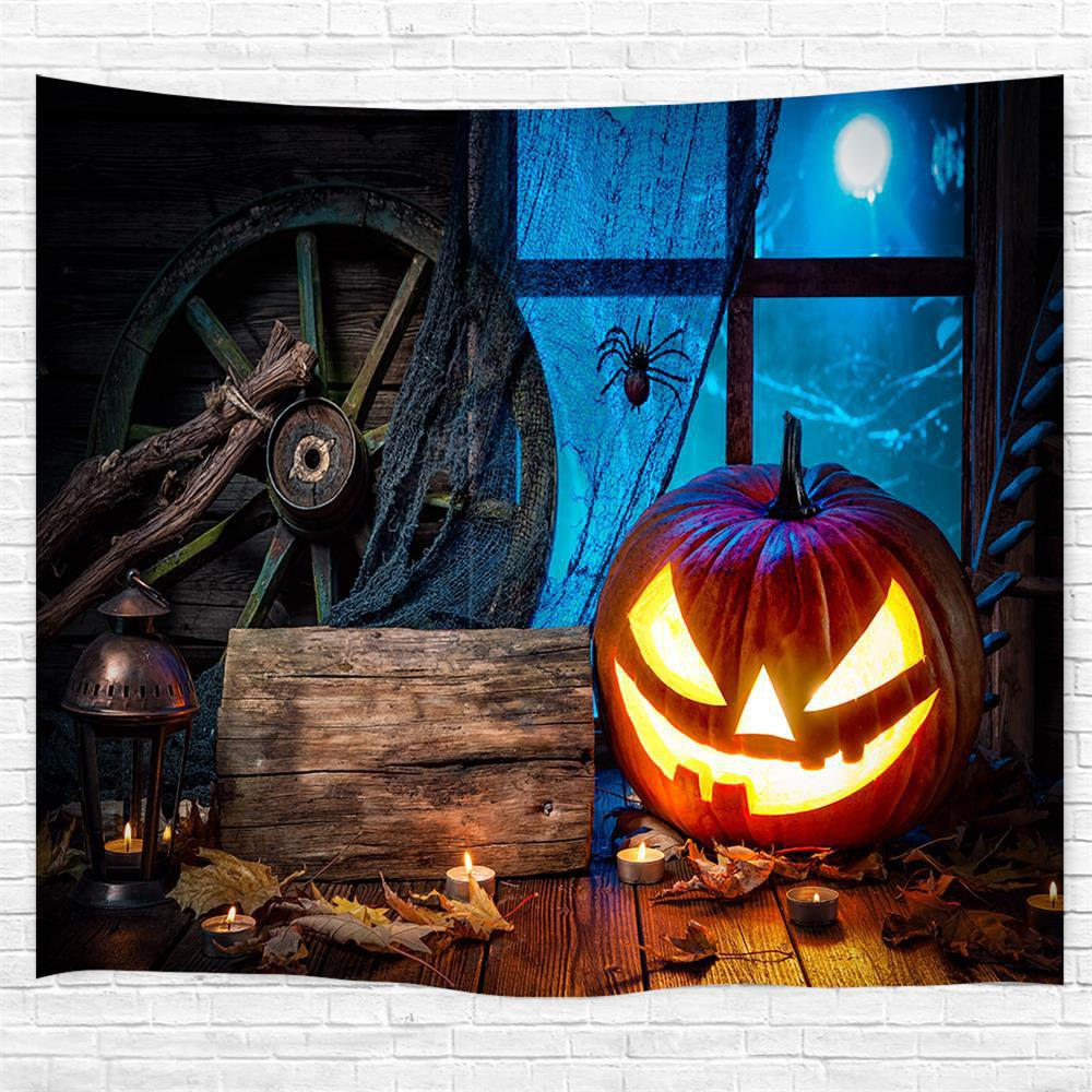 Fashion Wooden Wheel Spider Pumpkin 3D Printing Home Wall Hanging Tapestry for Decoratin