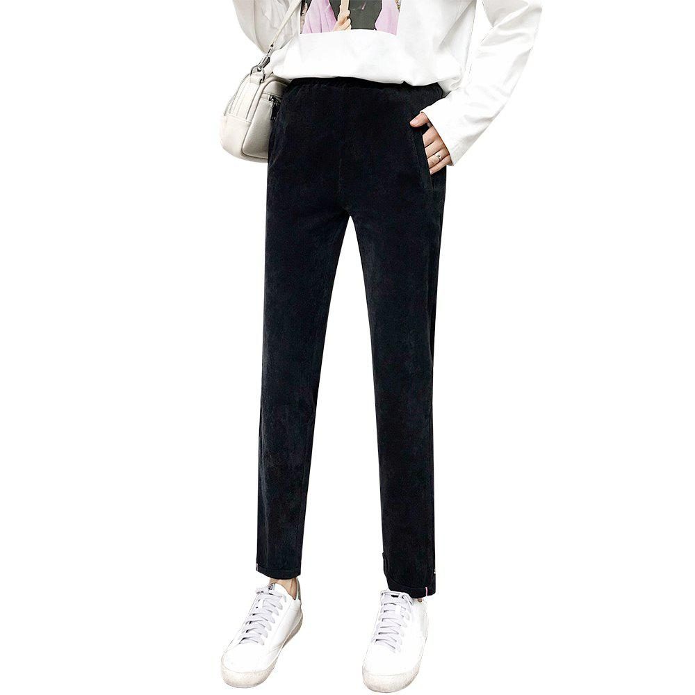 Online Large Size Women's Thin Section Loose Corduroy Nine Points Casual Harem Pants